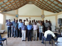 Trip to Haiti - May-June 2011- Archdiocese of Port-au-Prince - HAITI / National 10/00362, HAITI / National 10/00356 & HAITI / National 10/00367 - The Seminarians preparing to sing to say thanks for our benefactors for what they have done for the Seminary this year.