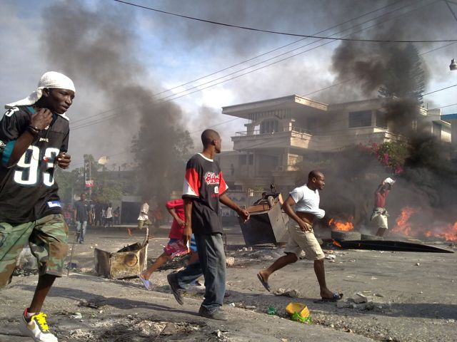 Riots in Haiti after the general elections taken place in Noivember 2010