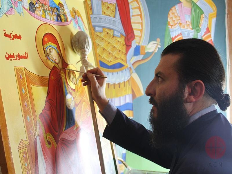 Siria pintando el icono para web