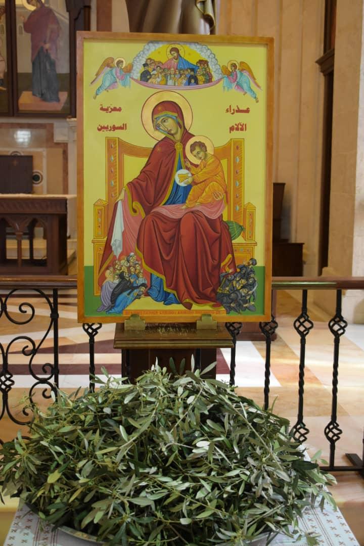 Siria icono de la virgen dolorosa en san jose en dogo de ramos