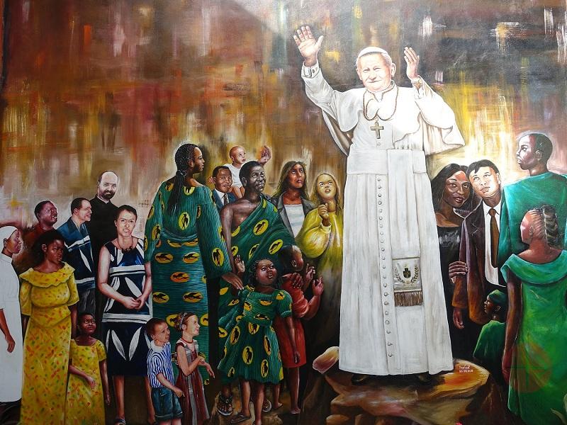 Benin Juan PabloII Wall painting at Institut Jean Paul II pour le Mariage et la Famille