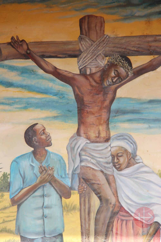 Cristo negro en la cruz junto a Juan Y la Virgen