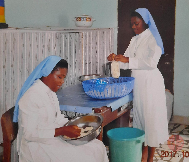 Ghana Host Baking Machine for the Novitiate of the Handmaids of the Holy Child Jesus at Nsoatre The sisters pack the hosts in small bags web