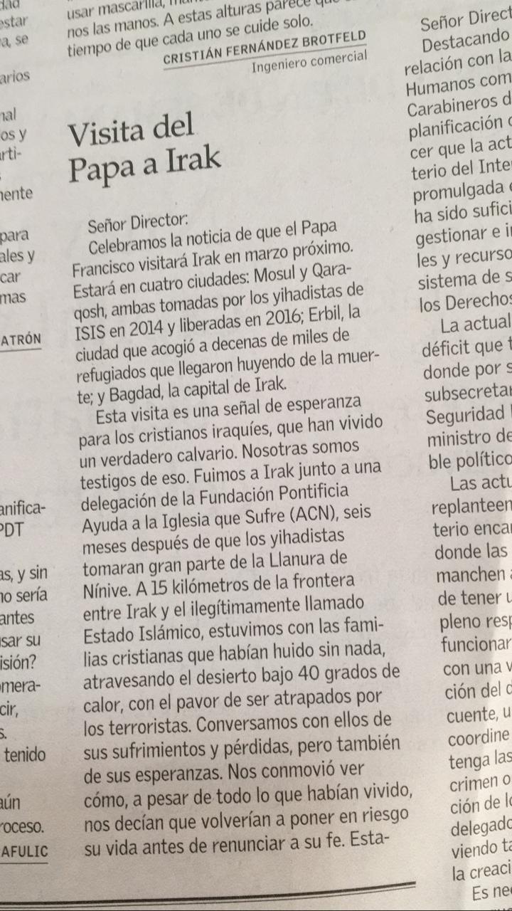 carta al director el mercurio por visita papa a irak 1