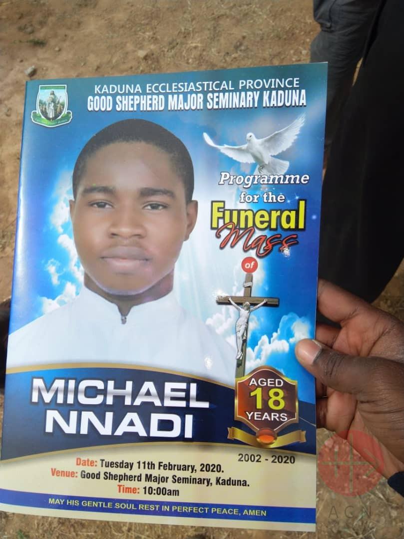 Nigeria Flyer announcing the funeral Mass of Seminarian Michael Nnadi