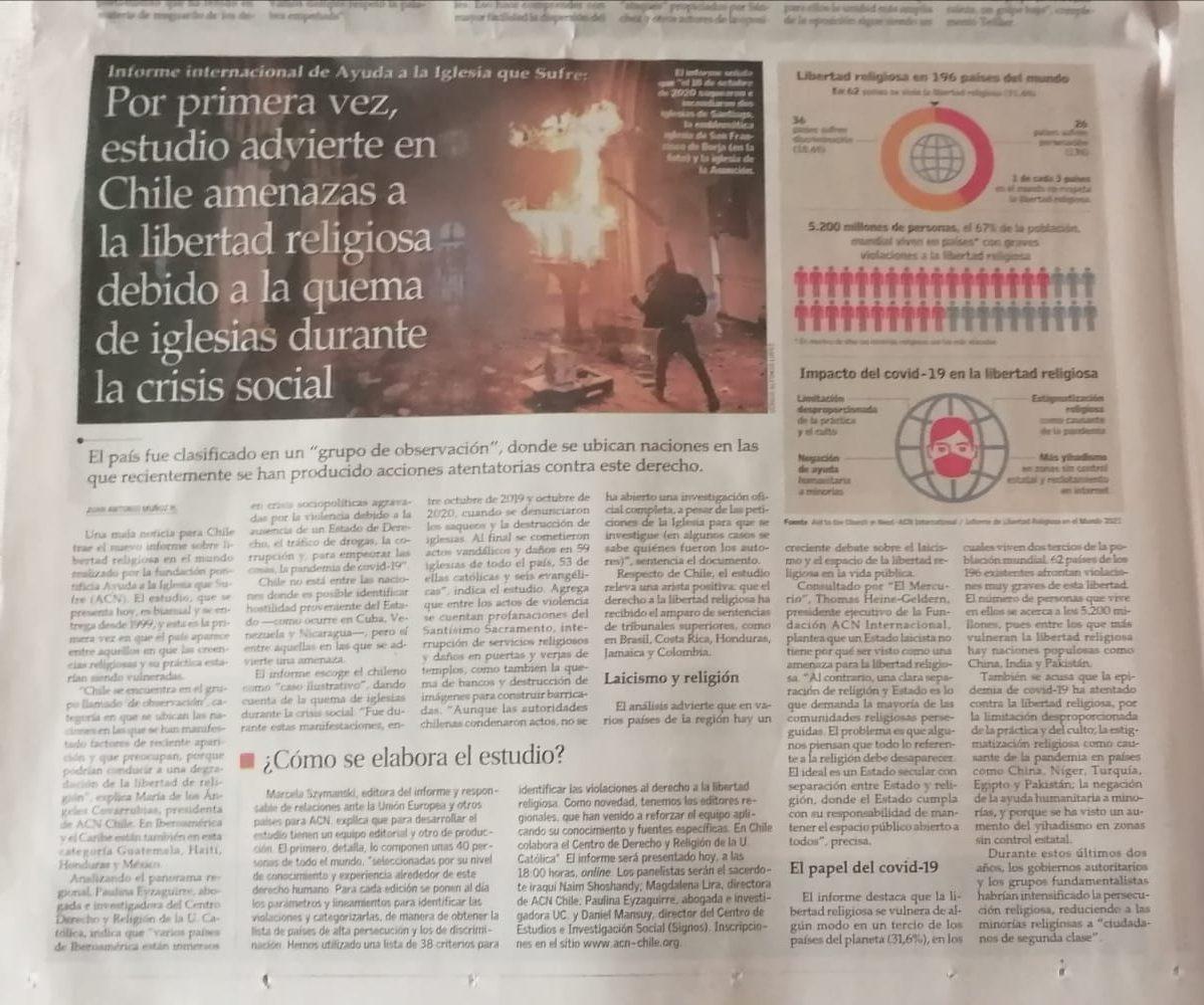 Por primera vez, estudio advierte en Chile amenazas a la libertad religiosa debido a la quema de iglesias durante la crisis social