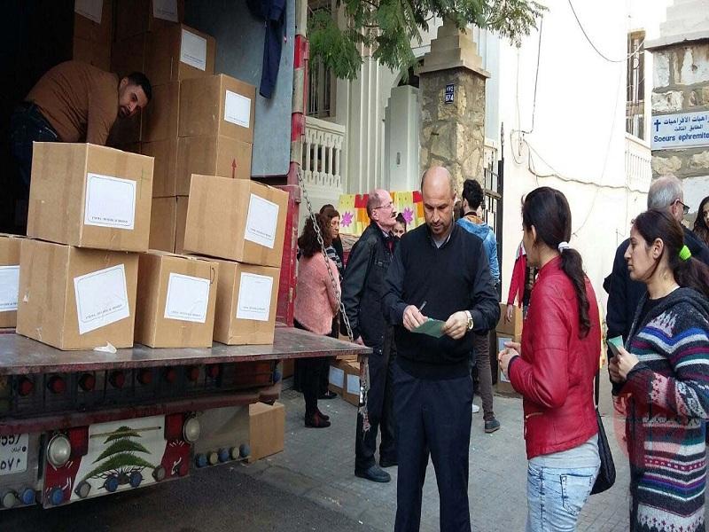 Líbano Beirut cajas de alimentos web
